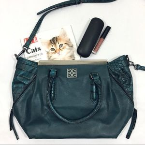 Gianni Bini Teal Crocodile Purse Collapsible Sides